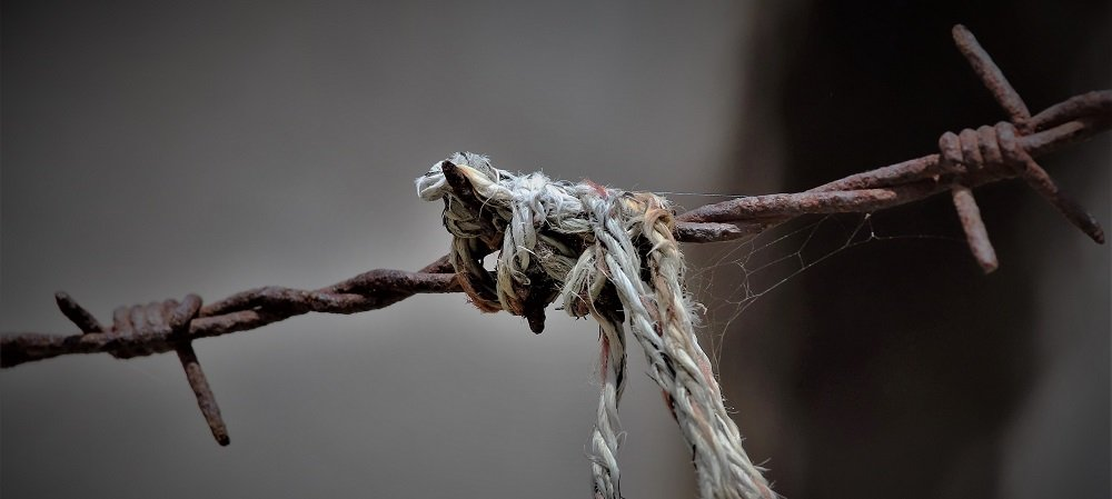 yarn caught on barbed wire