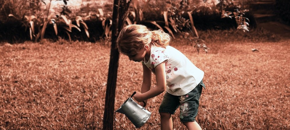 Little girl watering a tree from a watering can